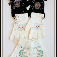Embellished dollar store gloves using rhinestone iron-ons from the craft store.