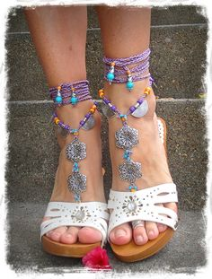 GYPSY+purple+BAREFOOT+Sandals+Anklets+Crochet+SANDALS+by+GPyoga,+$79.00