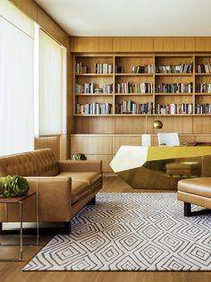 Ralph Lauren carpet, Paul Marra desk, Room  Board sofa, chair and ottoman in a sitting room