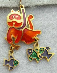 Vintage Edgar Berebi Cat Earrings Snorkeling For Fish