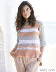 Revista mujer Chic 97 Primavera / Verano | 22: Mujer Jersey | Gris claro perlado / Naranja salmón / Blanco