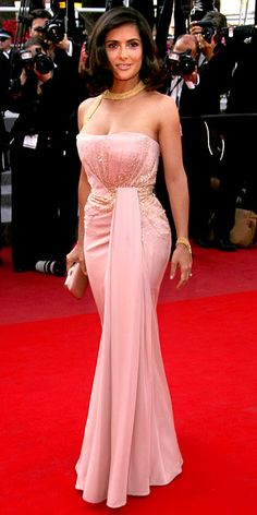 Salma Hayek Pinault    WHAT SHE WORE    For the Cannes Palme d'Or Closing Ceremony, Hayek Pinault chose a draped blush pink Gucci Premiere gown accented with gold bugle beads