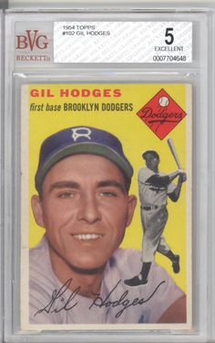 BGS BVG 5 EX 1954 Topps 102 Gil Hodges Brooklyn Dodgers | eBay