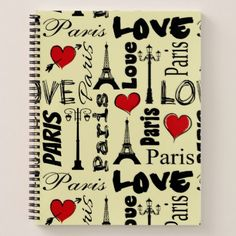 Paris Notebook - calligraphy gifts custom personalize diy create your own