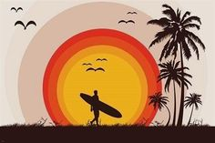 surfer tropical beach VINTAGE ART POSTER palm trees SURF BOARD birds Brand New. Will ship in a tube. - Multiple item purchases are combined the next day and get a discount for dome Diamond Drawing, 5d Diamond Painting, Beach Wall Decor, Home Wall Decor, New Retro Wave, Retro Surf, Grafiti, Paint By Number Kits, Surf Art