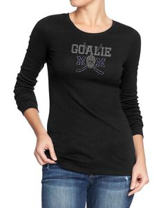 Hockey Goalie Mom Long Sleeve T-Shirt Blue by MySpecialTshirts
