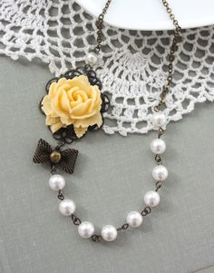 An Ivory, Yellow Rose Bud Flower, Crystal White Pearls Necklace. Vintage Style. Bridesmaid Gift Ideas. Wedding Necklace. Maid of Honor.