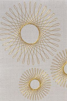'Spirograph III' embroidered goldwork panel by Ruth O'Leary oh my goodness gracious