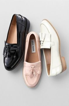 Steve Madden 'Meela' Loafer (Women) at Nordstrom.com. Classic tassels swing across the toe of a sleek, menswear-inspired loafer upgraded in glossy patent.