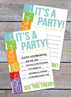 It is time to celebrate with this Numbers Themed Party Invitation. Simply download, print and fill any the details for your next party!