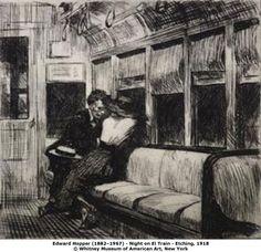 Artist: Edward Hopper. Title: Night on El Train. Year: 1918. Description: etching.