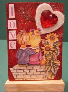 LOVE Original ACEO Altered Art by Cathy by artbycathyhenderson, $3.00 Canadian Artists, Altered Art, Original Artwork, Hearts, Valentines, The Originals, Painting, Valentine's Day Diy, Valentines Day