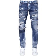 Dsquared2 Men 17.5cm Slim Fit Ripped Denim Jeans ($690) ❤ liked on Polyvore featuring men's fashion, men's clothing, men's jeans, blue, mens blue jeans, mens distressed denim jeans, mens slim cut jeans, mens jeans and mens torn jeans