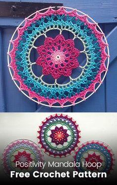 Positivity Mandala Hoop Free Crochet Pattern Positivity M. - Knitting patterns, knitting designs, knitting for beginners. Crochet Dreamcatcher Pattern Free, Crochet Mandala Pattern, Doily Patterns, Knitting Patterns, Crochet Patterns, Crochet Crafts, Crochet Yarn, Crochet Stitches, Crochet Projects