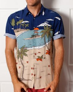 Vintage Beach Hawaiian Shirt  Lightweight  by GreatWhiteVintage, $24.00 /// www.art-by-ken.com