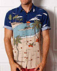 Vintage Beach Hawaiian Shirt Lightweight by GreatWhiteVintage, $24.00 /// www.art-by-ken.com