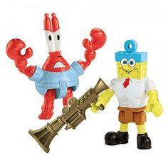 Figures of SpongeBob and Mr. Krabs as their superhero alter egos.