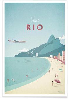Rio de Janeiro vintage travel poster of Ipanema Beach. Rio vintage travel poster by Henry Rivers. Buy a premium art print! Art Deco Posters, Poster Prints, Art Prints, Poster Wall, Visit Rio, Retro Poster, Plakat Design, Kunst Poster, Travel Illustration