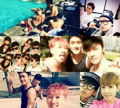 Super Junior soak up the Brazilian sun showing off their muscular arms and abs in the process