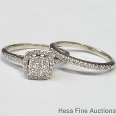 Dazzling White Gold Genuine Diamond Halo Engagement Wedding Band Ring Set
