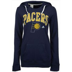 adidas Women's Indiana Pacers Mesh Arch Hooded Sweatshirt ($45) ❤ liked on Polyvore featuring navy and adidas