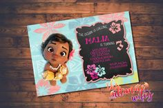 Baby Moana CUSTOMIZED Birthday Invitation