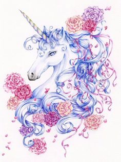 "Unicorn Fantasy Art Print, x 11 Limited Edition Print, ""Ribbons and Roses"". via Etsy. (Also on Fantasy Art/Fairy Tales) Diy Unicorn, Unicorn And Fairies, Unicorn Fantasy, Unicorns And Mermaids, Magical Unicorn, Drawings Of Unicorns, Beautiful Unicorn, Unicorn Humor, Unicorn Books"