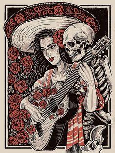 New silkscreen poster by Derrick Castle of Straw Castle La Muerte Tattoo, Mexican Skull Tattoos, Day Of Dead Tattoo, Day Of Death, Day Of The Dead Artwork, Mexico Art, Skeleton Art, Screen Print Poster, Chicano Art