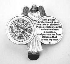 Angel Firefighter Prayer Coin Visor Clip