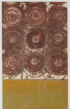 """徳山村考-火と祭  Considering """"Tokuyama Village""""-Fire and Fete  23.5 x 19.5cm  copperplate print with chine collé( etching)  林孝彦 HAYASHI Takahiko 1996-The Museum of Fine Arts, GIFU"""