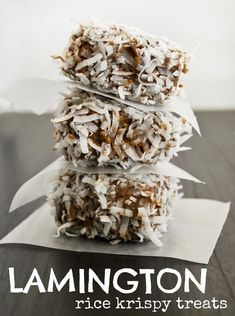 Mallow & Co:  Lamington Rice Krispy Treats (The Usual Ingredients Plus:  Dry White Cake Mix, Chocolate Chips Or Chocolate Almond Bark, Sweetened Shredded Coconut)