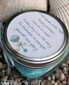 bath scrub baby shower favor...i think this would be really cute and it would fit in the little tiffany boxes..maybe?