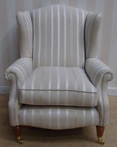 Laura Ashley Southwold Armchair Off-white Striped Fabric. Use Magiglide castor cups underneath the feet to avoid marking your floor. Striped Fabrics, Interior Design Tips, Laura Ashley, Home Look, Decorating Tips, Off White, Armchair, Cups, Shabby
