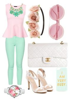 """Mint and pink spring brunch outfit"" by thaniasbeauty ❤ liked on Polyvore featuring French Connection, Chanel, Charlotte Russe, Wildfox, Kate Spade and Betsey Johnson"