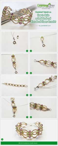 Tutorial on How to Make a Seed Bead and Glass Bead Flower Bracelet from LC.Pandahall.com #pandahall | Jewelry Making Tutorials & Tips 2 | Pinterest by Jersica