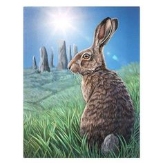 Other Fantasy, Myth & Magic Hare Canvas 'solstice' By Lisa Parker Rabbit Spiritual Mythical Wall Art Hare Illustration, Illustrations, Lisa Parker, Rabbit Art, Bunny Art, Animal Totems, Wildlife Art, Animal Paintings, Fantasy Art
