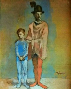 "Pablo Picasso, ""Strolling Player and Child"", The National Museum of Art, Osaka; © 2011 Estate of Pablo Picasso / Artists Rights Society (ARS), New York Pablo Picasso, Kunst Picasso, Picasso Blue, Picasso Art, Picasso Paintings, Gouache, Kunst Online, Online Art, Picasso Rose Period"