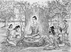 Buddha Kunst, Buddha Art, Buddha Drawing, Composition Painting, Pen Sketch, Monkey Business, Hindu Art, Tibet, Prayer
