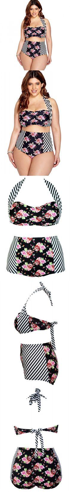 e0fb09317b655 Plus Size XXXL XXXL Swimwear Floral Striped High waist Bikini Swimsuit 2016  bikinis set women Sexy