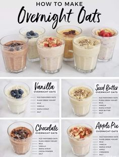 Healthy Food Recipes, Oats Recipes, Healthy Drinks, Cooking Recipes, Yummy Food, Healthy Breakfasts, Breakfast Healthy, Meal Prep Breakfast, Healthy Carbs