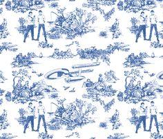 star trek toile de jouy blue fabric by debi_birkin on Spoonflower - Yes. Please. Someone order me 2 yards? Please? --LO