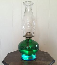 Stunning vintage #blue-green oil lamp. An absolute must have for oil lamp collectors or your mid century modern home. Lamp is in very good condition. There is one small scra... #decorative