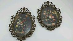 Vintage Floral Print Pictures Ornate Frames Gold Finish Metal Convex Glass Set