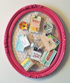 Chicken Wire - check  Baroque Frame - check  Pink Spraypaint - Check    What a brilliant idea.