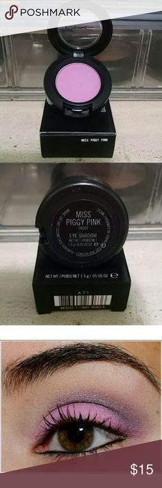 """MAC """"Miss Piggy Pink"""" Eyeshadow """"Miss Piggy Pink"""" a frost eyeshadow from MAC's Miss Piggy Collection. Gorgeous, very pigmented color. No longer available at MAC and extremely rare in new condition. 100% AUTHENTIC & BRAND NEW!!! MAC Cosmetics Makeup Eyeshadow"""