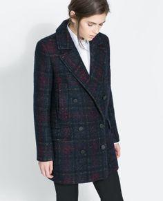 CHECKED COAT WITH POCKETS from Zara