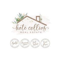 Real Estate Logo Design and Stamps, Floral House Roof Logo, Realtor Logo, Real Estate Branding, Realtor Logo and Watermark 514 image 0 Real Estate Logo Design, Real Estate Branding, Real Estate Business Cards, Logo Deco, Farm Logo, Realtor Logo, Floral Logo, Selling Real Estate, Home Logo