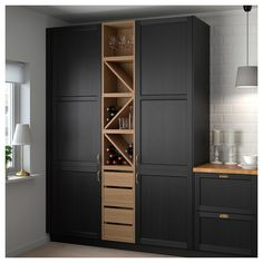 VADHOLMA Range-bouteilles, brun, frêne teinté - IKEA - Expolore the best and the special ideas about Modern kitchen design Wine Shelves, Wine Storage, Tall Cabinet Storage, Wine Bottle Storage Ideas, Towel Storage, Home Decor Kitchen, Kitchen Interior, Home Kitchens, Decorating Kitchen