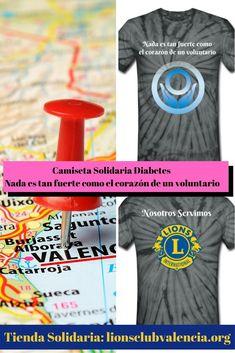 Camiseta Diabetes Nada es tan fuerte como el corazón de un voluntario Lions Club, Valencia, Diabetes, 60s Style, Volunteers, Strong, T Shirts, Diabetic Living