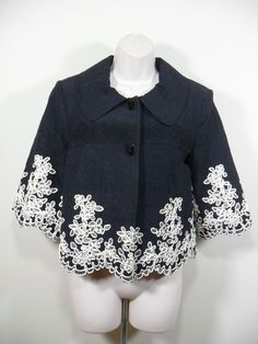 Peter Nygard Cropped Jacket Short Size 8 Womens Black Cream Embroidered Accents  #PeterNygard #CroppedJacket